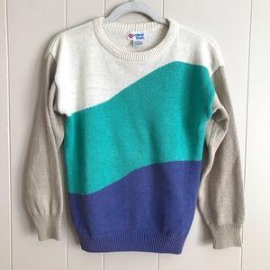 VTG Retro Wavy Colorblock Knit Crewneck Sweater